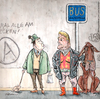 Cartoon: Neulich an der Bushaltestelle (small) by ian david marsden tagged hund,bus,haltestelle,muskeln,dog,poop,public,transportation,cartoon,marsden