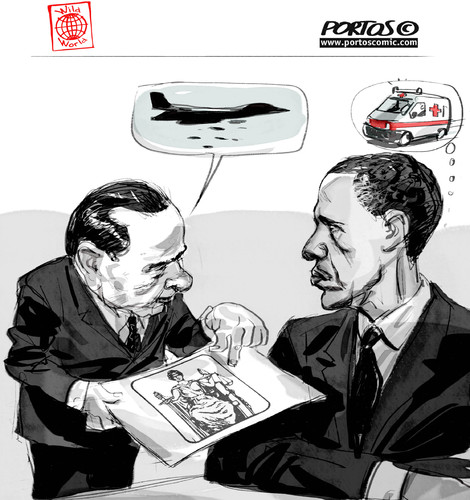 Cartoon: G8 Deauville (medium) by portos tagged berlusconi,obama,italia,dittatura,dei,giudici,g8