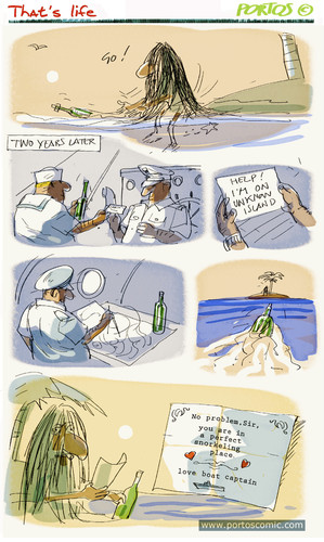 Cartoon: That s life (medium) by portos tagged desert,island,castaway