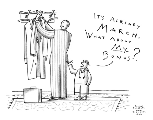 Cartoon: Bankers under pressure (medium) by Ronald Slabbers tagged prämie,bonus,banker,bank