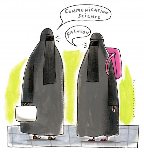Cartoon: Students (medium) by Ronald Slabbers tagged schule,studieren,schülerin,schüler,women,fashion,bhurka,burka,islam,school,religion,communication,study,wissenschaft,students,kommunikation,student,frauen,mode,schule,mode,communication,wissenschaft,kommunikation,frauen