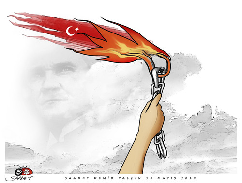 Cartoon: 19 MAYIS (medium) by saadet demir yalcin tagged saadet,sdy,19may,atatürk