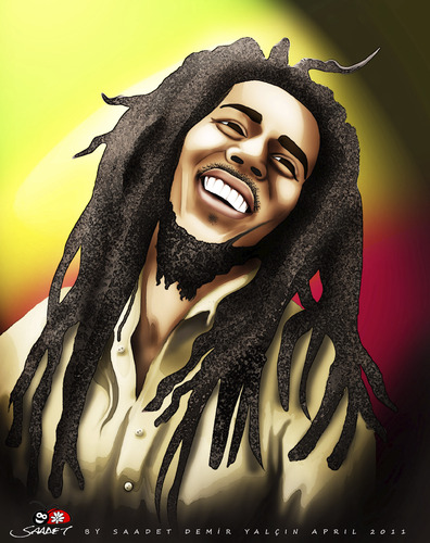 Cartoon: BOB MARLEY (medium) by saadet demir yalcin tagged saadet,sdy,syalcin,bobmarley,music,peace