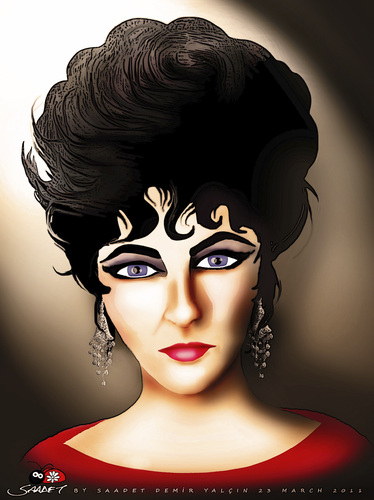 Cartoon: ELIZABETH TAYLOR (medium) by saadet demir yalcin tagged saadet,sdy,syalcin,liztaylor