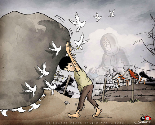 Cartoon: for Palestine... (medium) by saadet demir yalcin tagged saadet,sdy,palestine