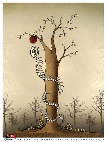 Cartoon: Such a one evolution (medium) by saadet demir yalcin tagged saadet,sdy,globalwarming,snake,apple,tree,climate