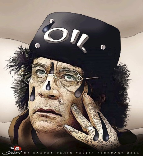 Cartoon: to be in mortal fear... (medium) by saadet demir yalcin tagged kaddafi,libya,turkey,sdy,syalcin,saadet