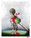 Cartoon: One color (small) by saadet demir yalcin tagged saadet,syalcin,sdy,turkey,war,color,brush