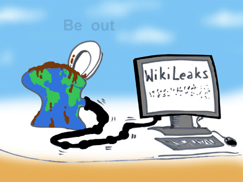 Cartoon: WikiLeaks (medium) by T-BOY tagged out,be