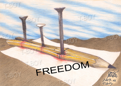 Cartoon: FREEDOM (medium) by T-BOY tagged freedom