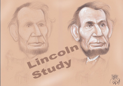 Cartoon: LINCOLN STUDY (medium) by T-BOY tagged lincoln,study