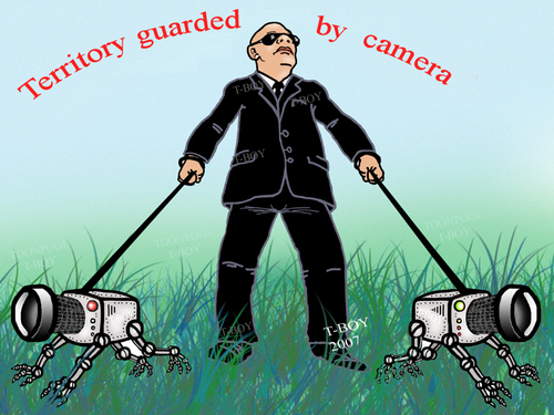 Cartoon: TERRITORY GUARDED BY CAMERA (medium) by T-BOY tagged territory,guarded,by,camera