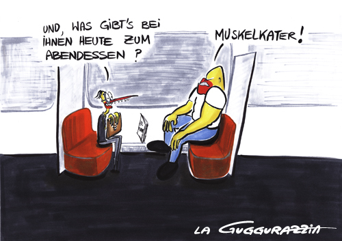 Cartoon: . (medium) by LA RAZZIA tagged fitness,sport,dinner,abendessen,muskelprotz