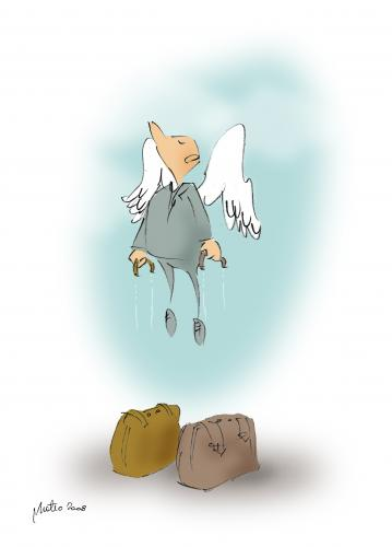 Cartoon: go to paradise (medium) by geomateo tagged heaven,paradise,eden,rich,death,angel,