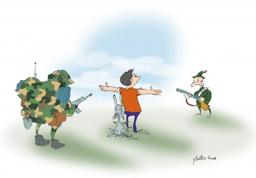 Cartoon: solidarity (medium) by geomateo tagged solidarity,courage,war,death,cartoon,hunter,soldier,rabbit,army,crime,violence,
