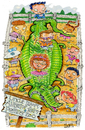 Cartoon: Alligator farm and petting zoo (small) by mikess tagged alligator,farm,petting,zoo,birthday,party,children,kids,gifts,eating,tradgedy