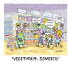 Cartoon: Vegetarian Zombies (small) by mikess tagged vegetarians,vegetables,groceries,grocery,store,shopping,restock,clerk,health,food,zombies,living,dead,night,of,the,bread,grains,cereal,isle,cookies,walking