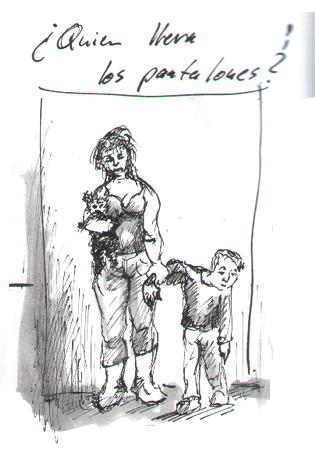 Cartoon: Quien lleva los pantalones ? (medium) by KREMPEL tagged mann,frau