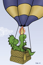 Cartoon: Ballonfahrt (small) by katelein tagged ballon,drache,dragon,balloon,heißluftballon,ballonfahrt,feuer,liebe,verliebt,honeymoon,flitterwochen