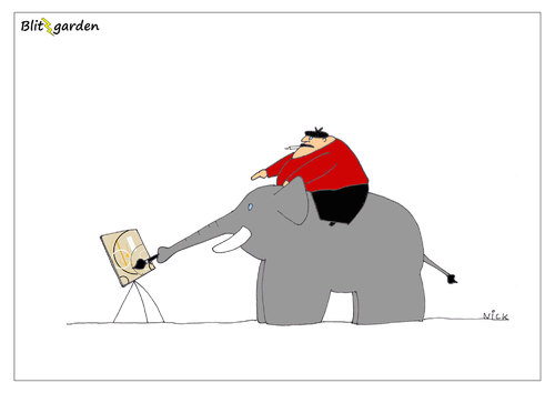Cartoon: KUNST! (medium) by Oliver Kock tagged kunst,künstler,maler,arbeit,delegieren,befehle,elefant,arbeitselefan,cartoon,nick,blitzgarden