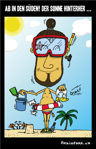 Cartoon: Ab in den Süden ... (medium) by BRAINFART tagged fun,lustig,comic,cartoon,meer,sonne,süden,sommer,brainfart