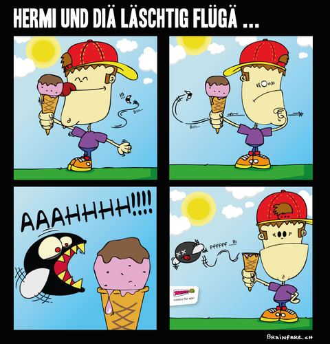 Cartoon: HERMI vs. Fat Mosca (medium) by BRAINFART tagged comic,cartoon,character,art,humor,lustig,witzig,zeichnung,drawing,brainfart,ice,cream,fly