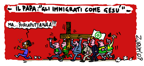 Cartoon: IMMIGRANTS AS JESUS (medium) by Zurum tagged immigrants,pope,razzismo