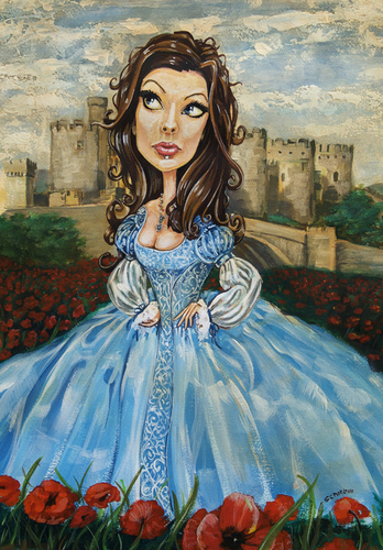 Cartoon: Blue Sunday (medium) by michaelscholl tagged woman,cartoon,portrait,dress,castle,poppies,sexy