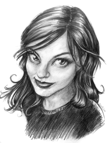 Cartoon: lisa (medium) by michaelscholl tagged woman,pencil,drawing,cartoon
