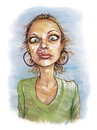 Cartoon: B (small) by michaelscholl tagged funny,face,woman,smirk
