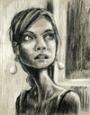 Cartoon: hsien-ku (small) by michaelscholl tagged woman,cartoon,portrait,charcoal