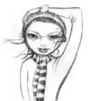 Cartoon: winter (small) by michaelscholl tagged sexy,woman,wind,eyes,scarf,hat,winter,charcoal