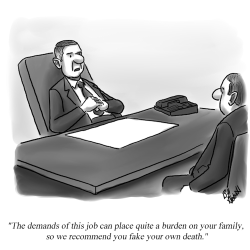 Cartoon: Fake Death (medium) by Billcartoons tagged business,work,boss,job,career,management,leadership