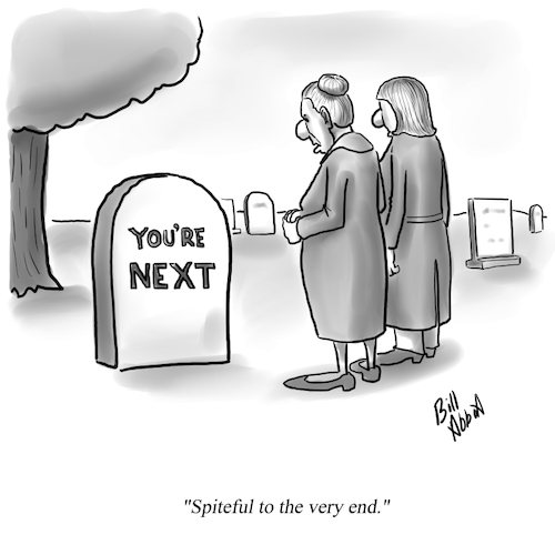 Cartoon: Spite (medium) by Billcartoons tagged death,marriage,spite,relationships,husband,wife,spouse,grave,graveyard