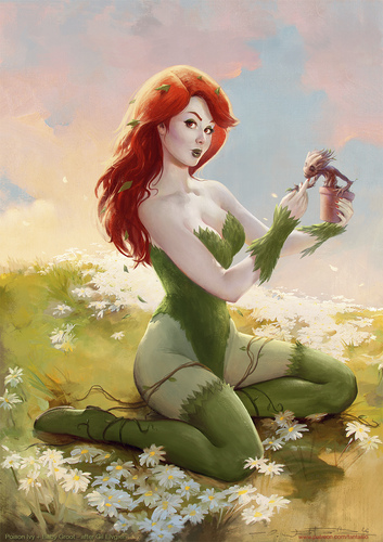 Cartoon: Poison Ivy  Baby Groot Elvgren (medium) by fantasio tagged poison,ivy,marvel,gotg,groot,illustration,pinup,elvgren,vintage,crossover,mashup