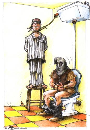 Cartoon: Double punishment (medium) by Liviu tagged wc,execution,hang,