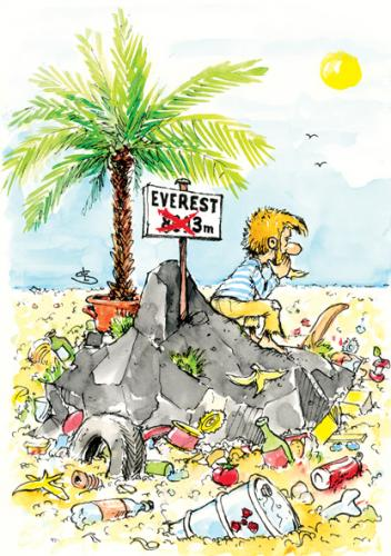 Cartoon: Everest (medium) by Liviu tagged garbage,top,island,