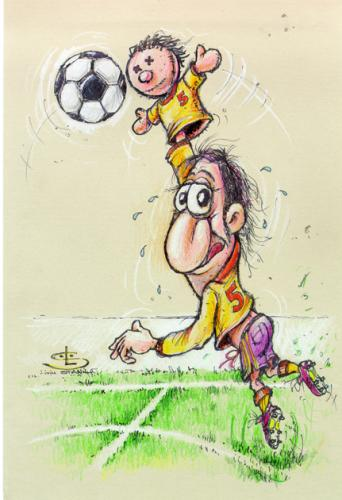 Cartoon: Head or hand ball (medium) by Liviu tagged football,hands,head,