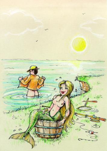 Cartoon: the mermaid (medium) by Liviu tagged mermaid,fishing,