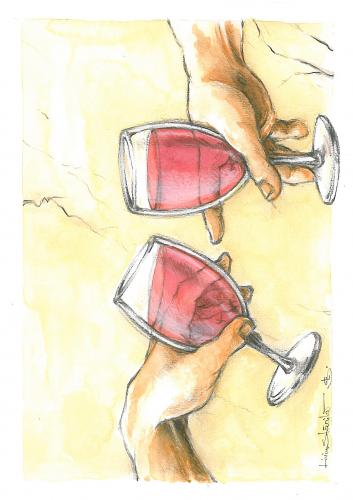 Cartoon: the original (medium) by Liviu tagged wine,hands,god,gift