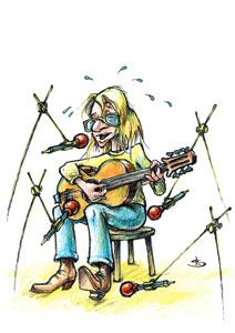 Cartoon: The singer (medium) by Liviu tagged guitar,microphones,fart,