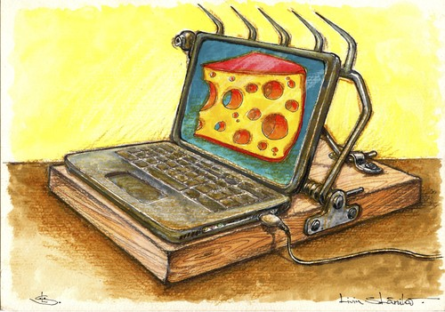 Cartoon: trapp-top (medium) by Liviu tagged mousetrap,laptop,cheese