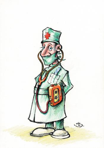 Cartoon: Walk-doctor (medium) by Liviu tagged doctor,walkman,stetoscope,