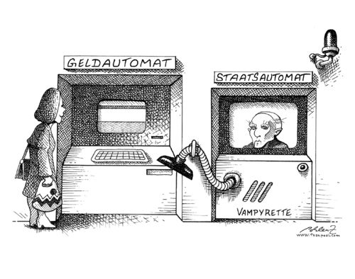 Cartoon: Bankenabgabe (medium) by Pohlenz tagged bankenabgabe,bankenabgabe,bank,banken,vampir,saugen,daten,automat