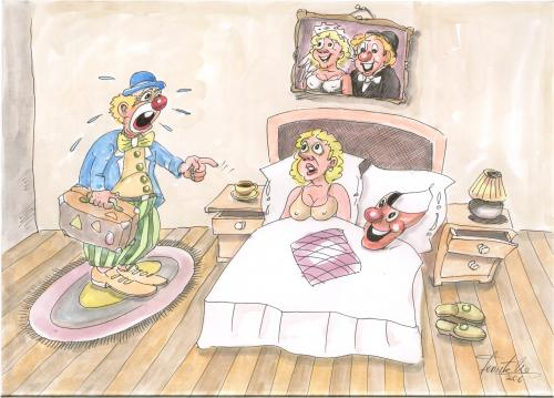 Cartoon: the clown wife (medium) by leonten tagged no,