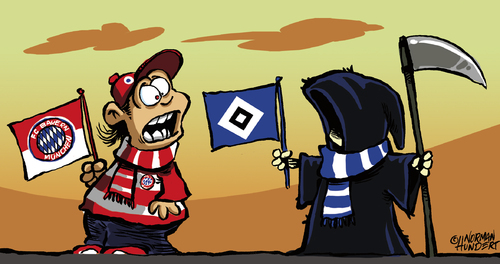 Cartoon: HSV (medium) by norman100 tagged hsv,bayern,münchen,norman,hundert,cartoon,tod