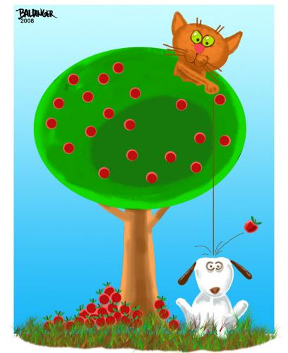 Cartoon: Apples (medium) by dbaldinger tagged cat,dog,humor,apples