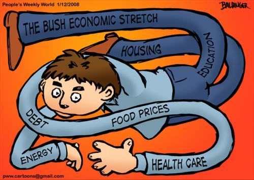 Cartoon: Bush Economic Stretch (medium) by dbaldinger tagged economy,usa,bush,