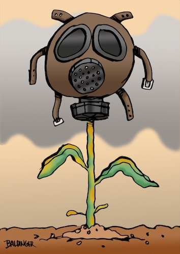 Cartoon: Gas Mask (medium) by dbaldinger tagged environment,pollution,ecology