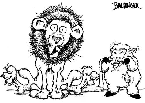 Cartoon: March Lion (medium) by dbaldinger tagged calendar,lion,sheep,animals,